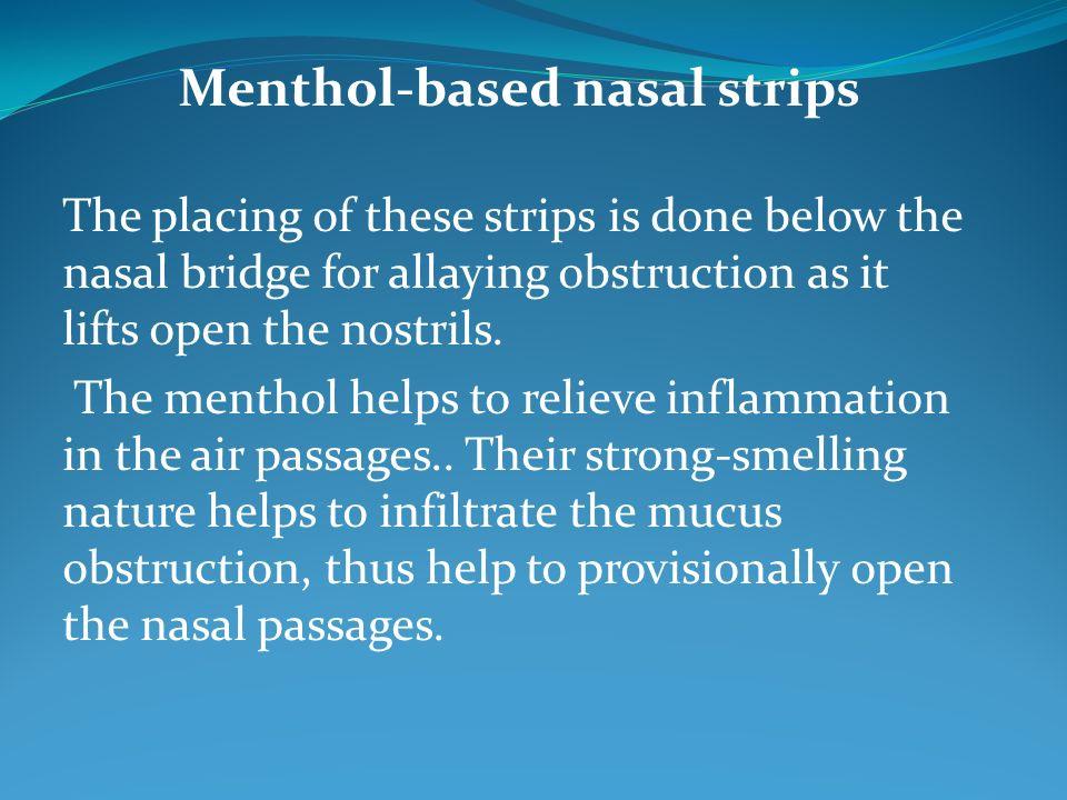 Menthol-based nasal strips