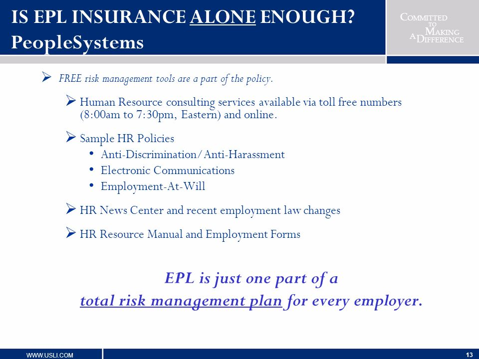 IS EPL INSURANCE ALONE ENOUGH PeopleSystems