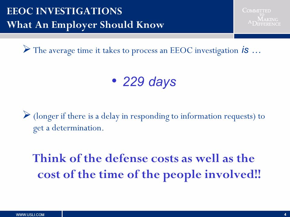 EEOC INVESTIGATIONS What An Employer Should Know