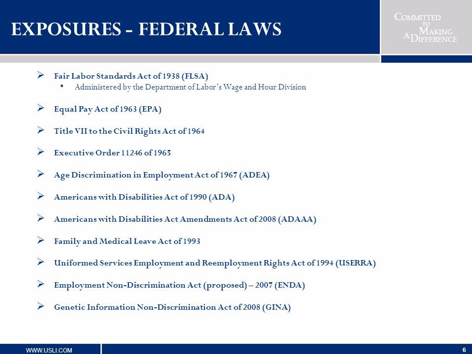 EXPOSURES - FEDERAL LAWS