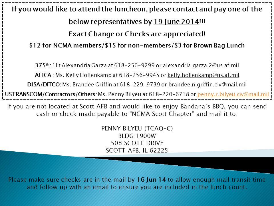Exact Change or Checks are appreciated!