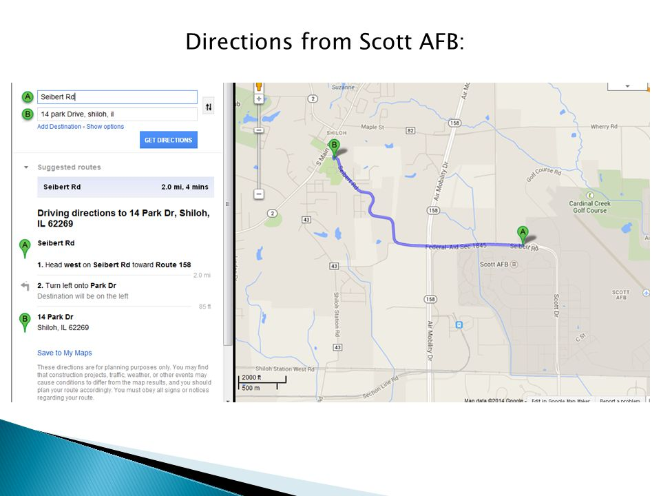 Directions from Scott AFB: