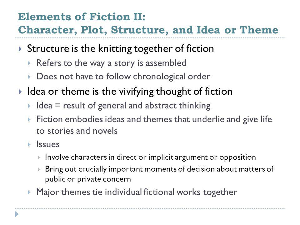 Elements of Fiction II: Character, Plot, Structure, and Idea or Theme