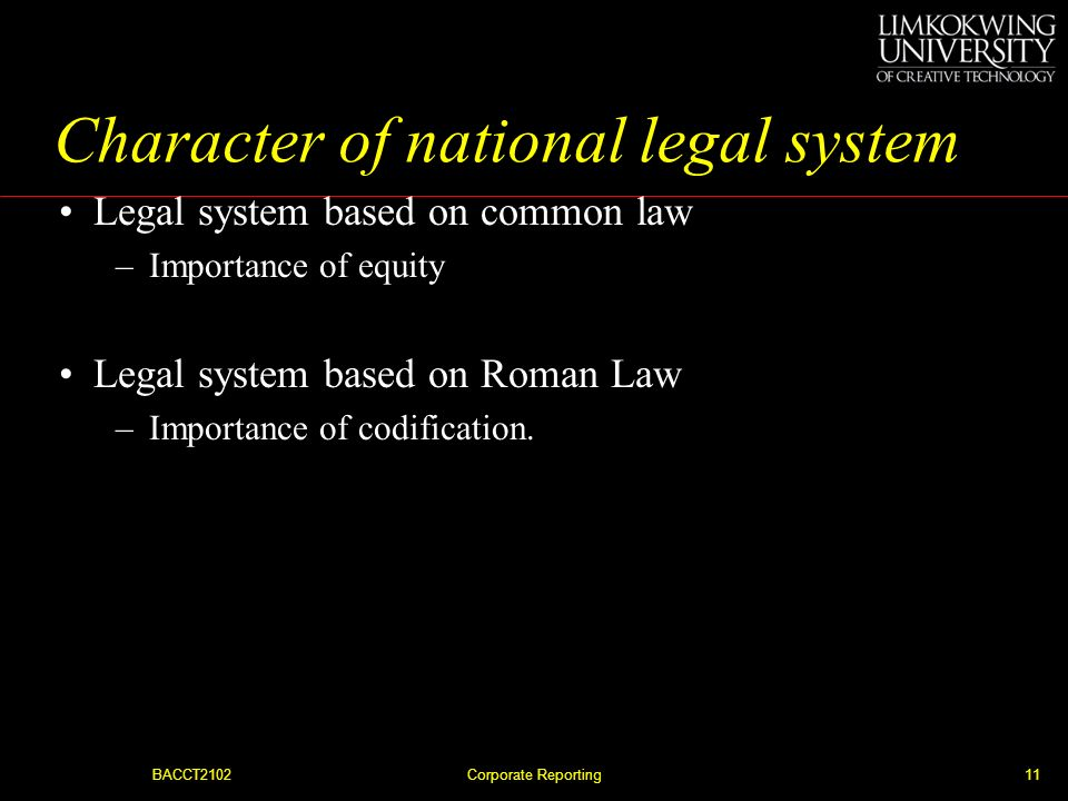 Character of national legal system