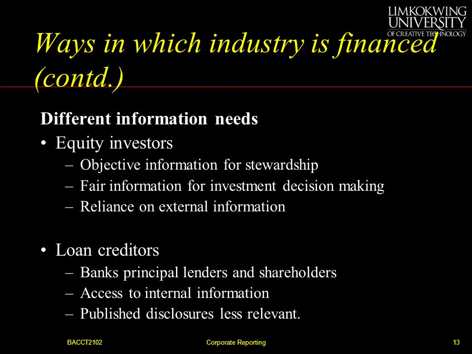 Ways in which industry is financed (contd.)