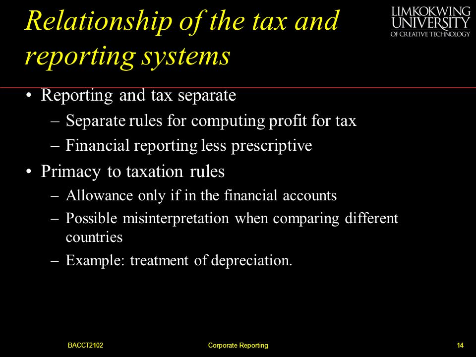 Relationship of the tax and reporting systems