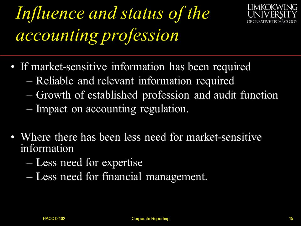 Influence and status of the accounting profession