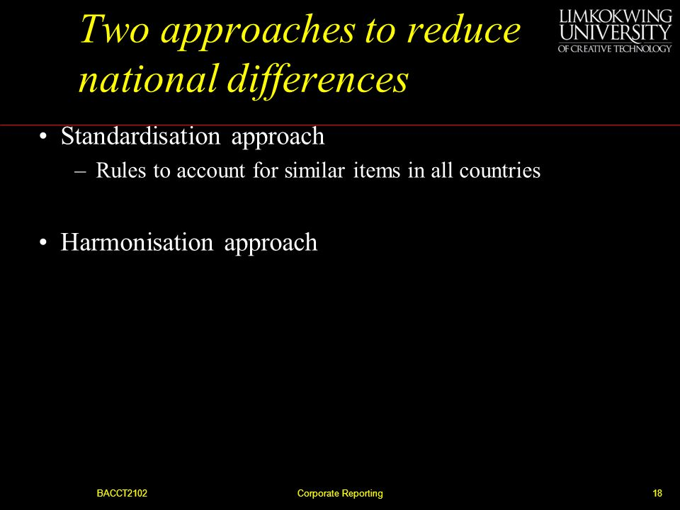Two approaches to reduce national differences
