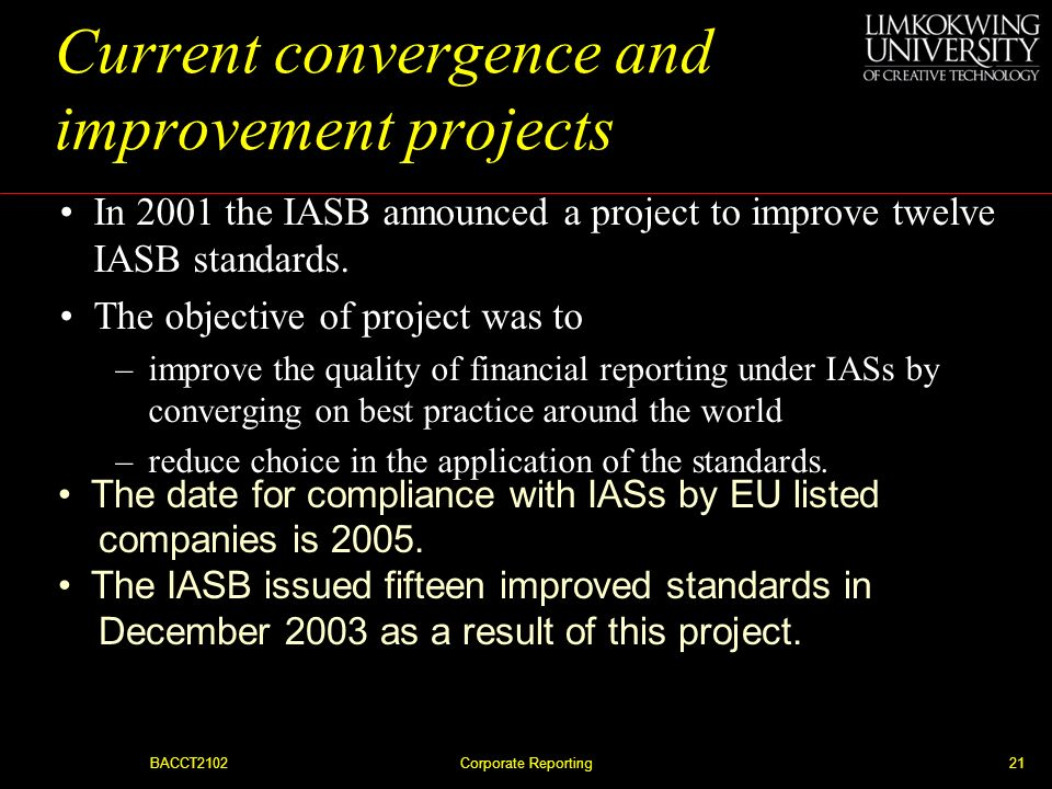 Current convergence and improvement projects