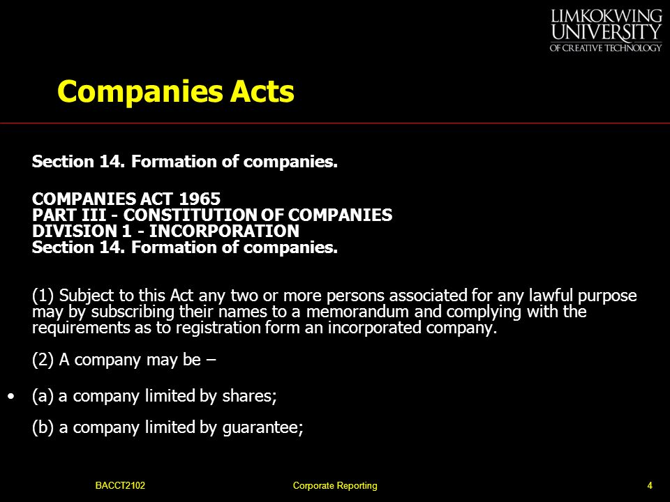Companies Acts Section 14. Formation of companies.