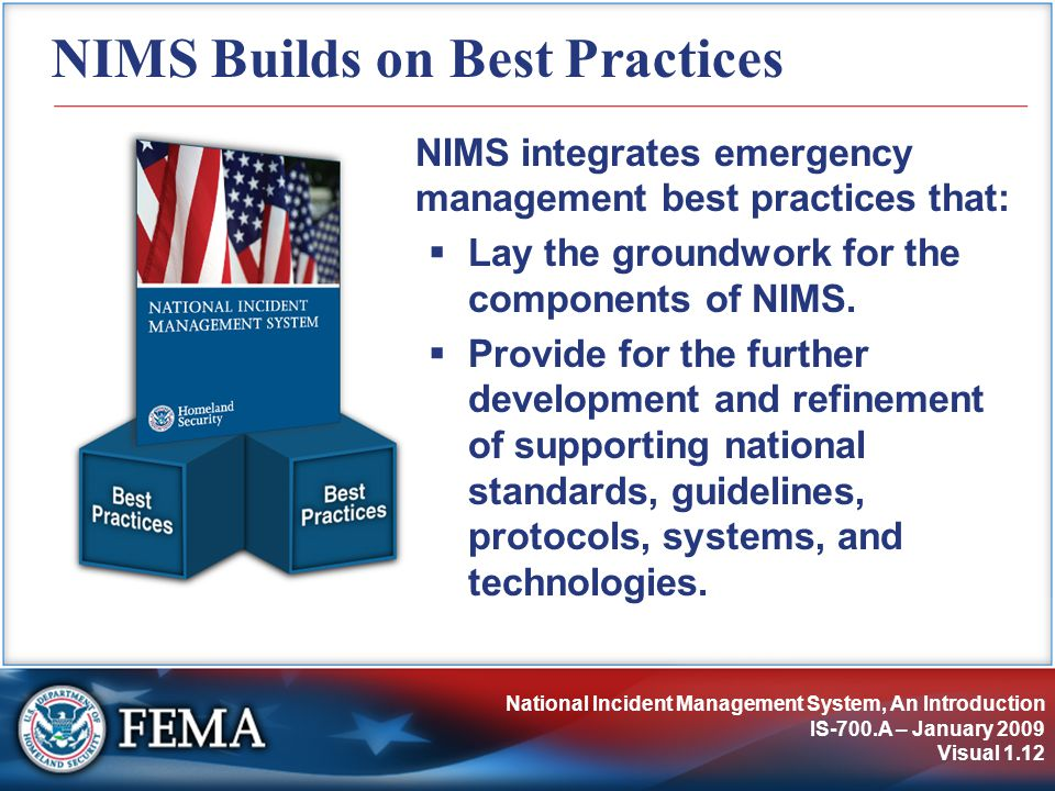 NIMS Builds on Best Practices
