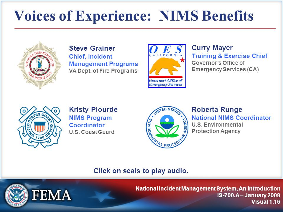 Voices of Experience: NIMS Benefits