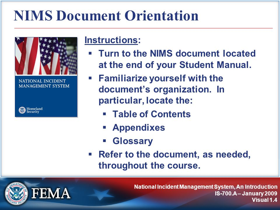 NIMS Document Orientation