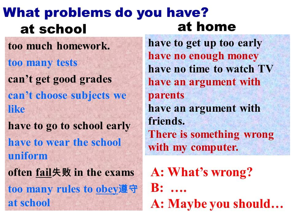 What problems do you have at home at school