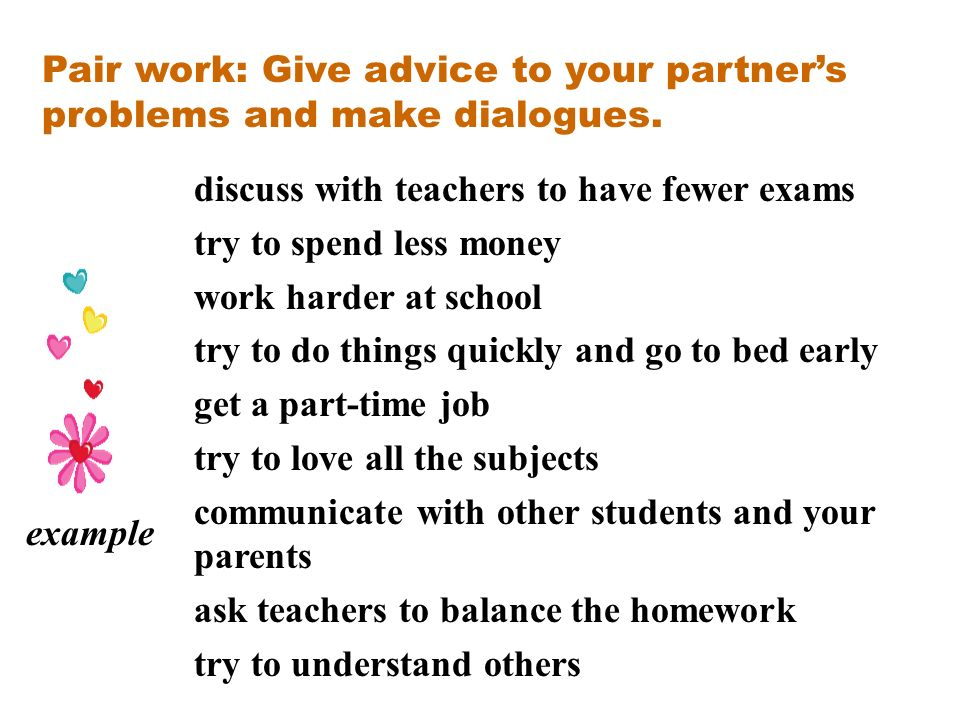 Pair work: Give advice to your partner's