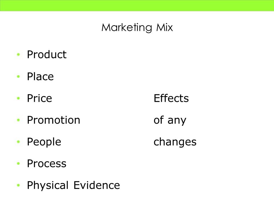 Marketing Mix Product. Place. Price Effects. Promotion of any. People changes. Process.