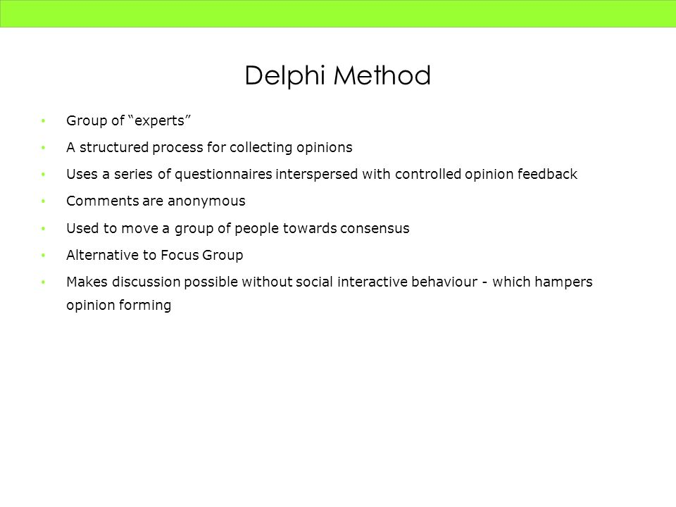Delphi Method Group of experts