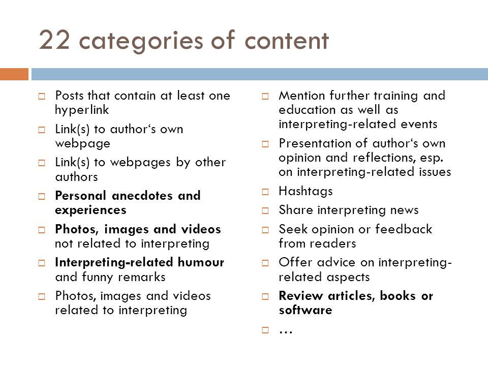 22 categories of content Posts that contain at least one hyperlink