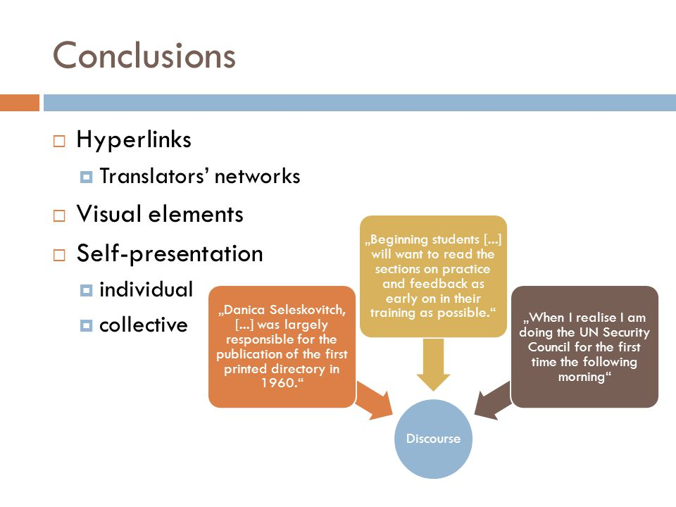 Conclusions Hyperlinks Visual elements Self-presentation