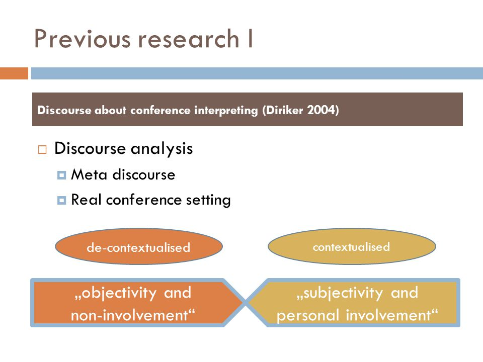 Previous research I Discourse analysis