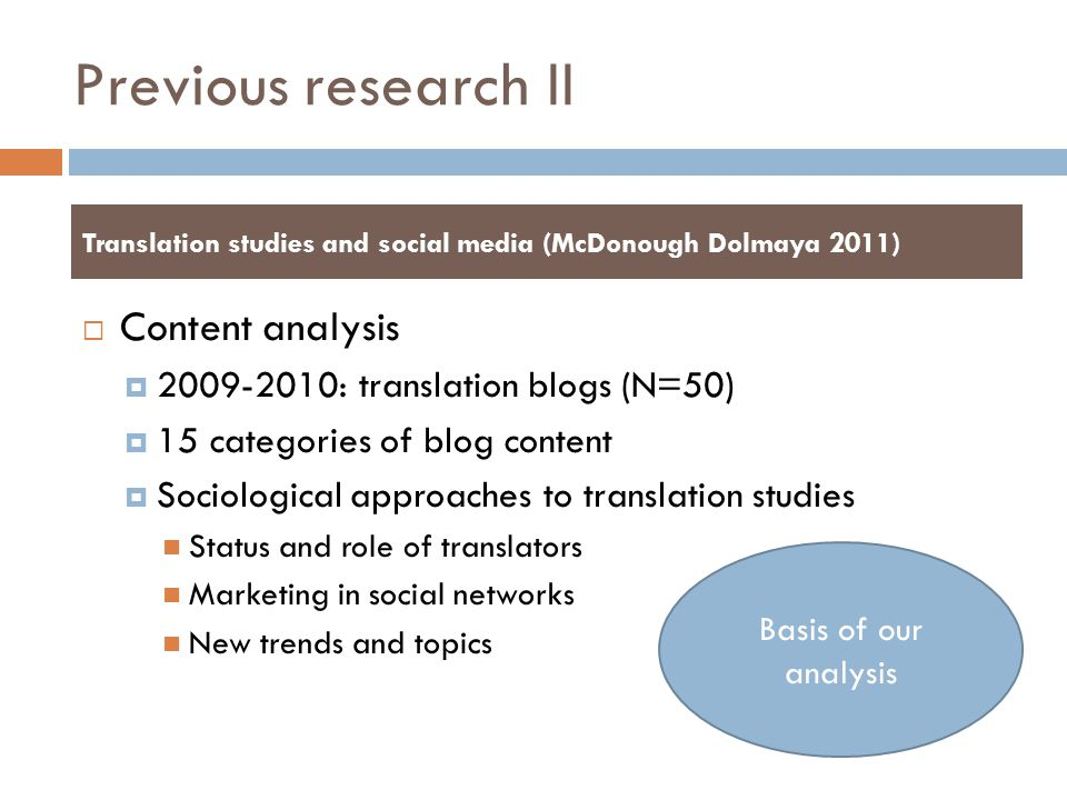Previous research II Content analysis