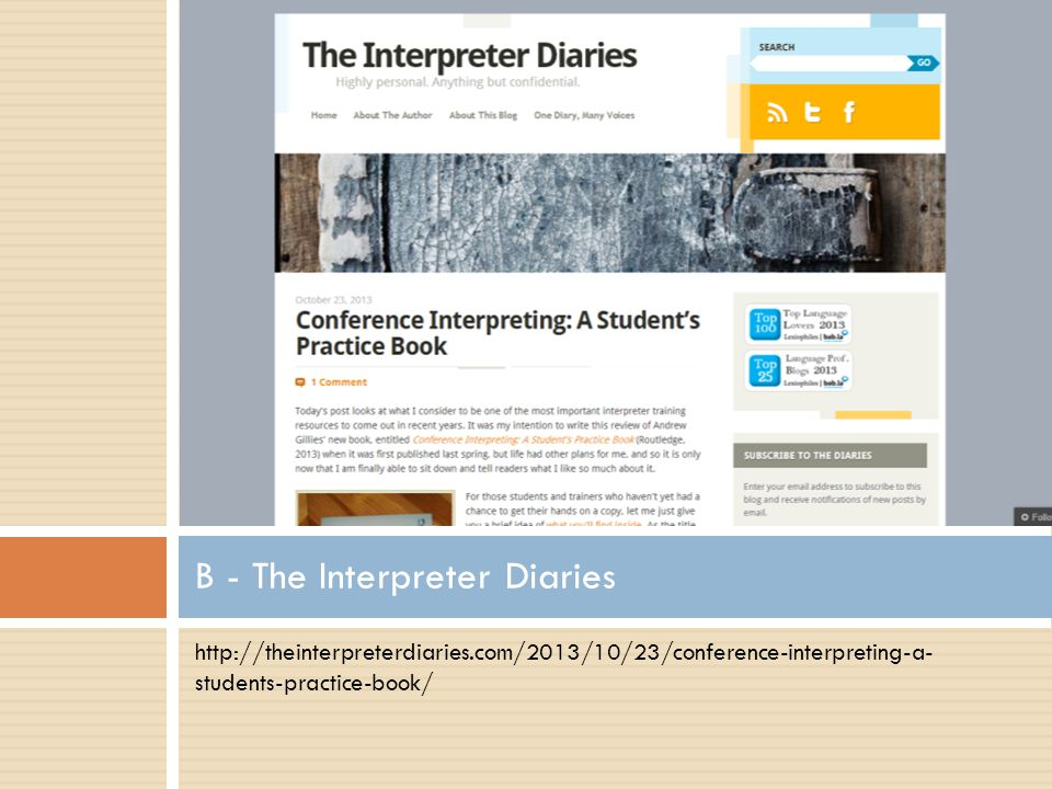 B - The Interpreter Diaries