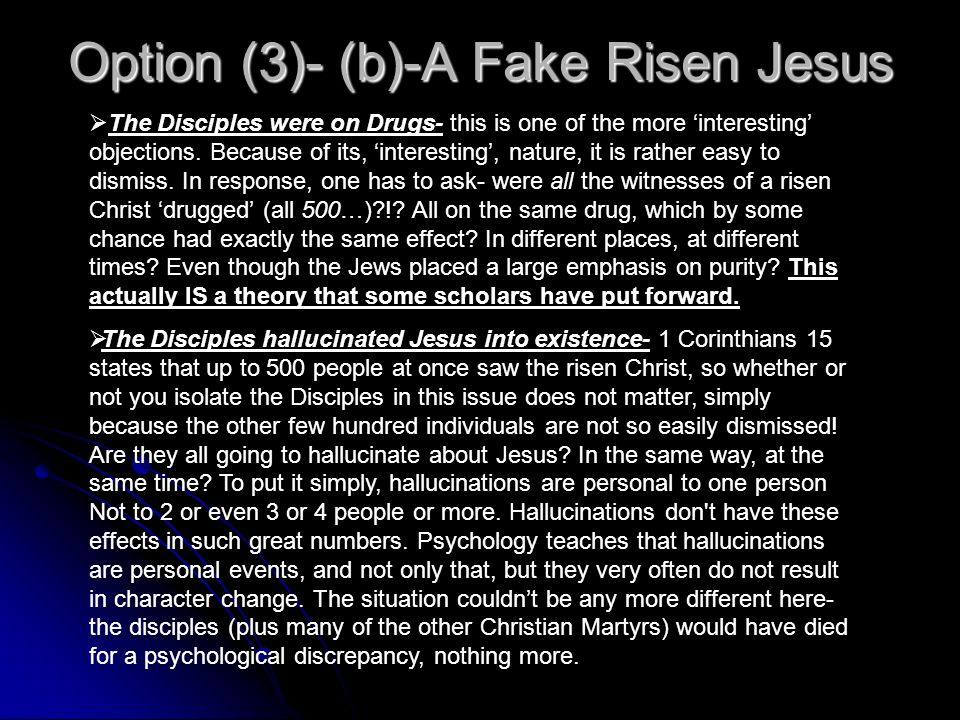 Option (3)- (b)-A Fake Risen Jesus