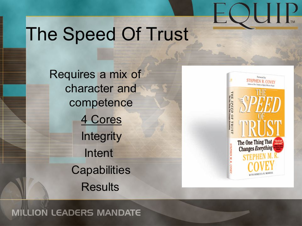 The Speed Of Trust Requires a mix of character and competence 4 Cores Integrity Intent Capabilities Results