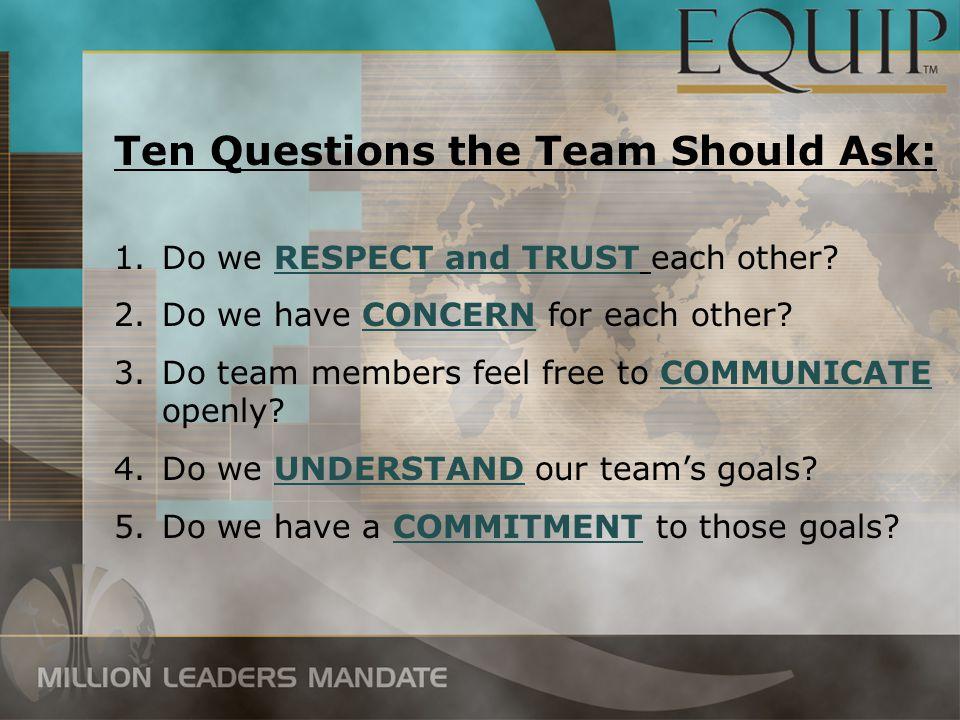Ten Questions the Team Should Ask: