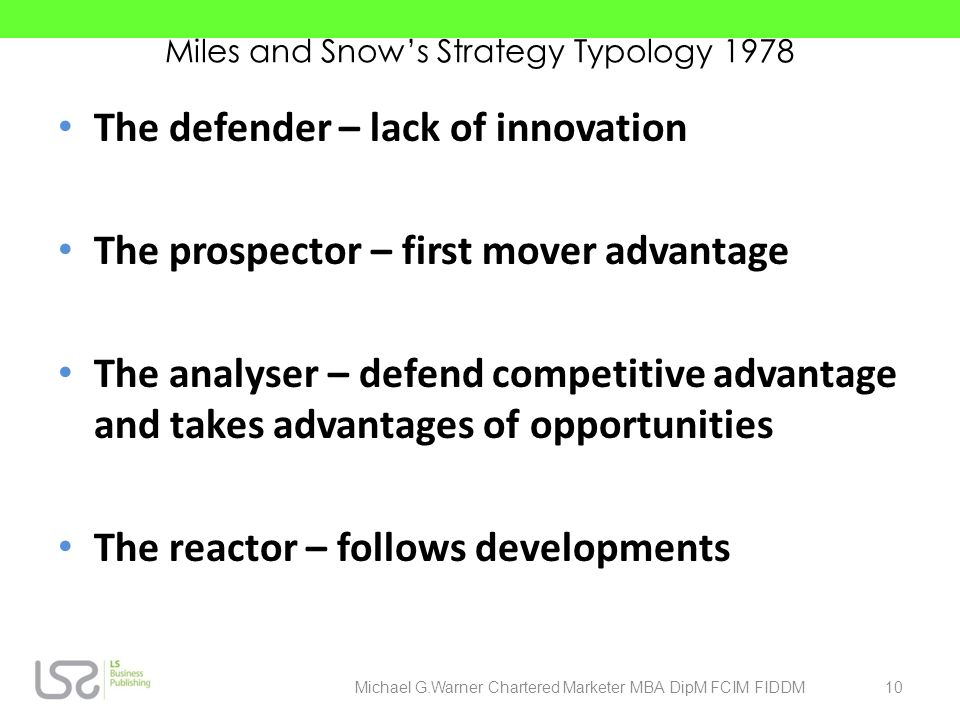 Miles and Snow's Strategy Typology 1978