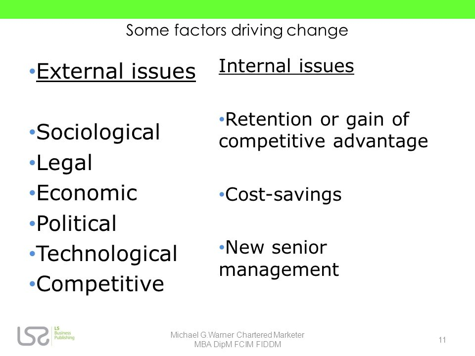 Some factors driving change