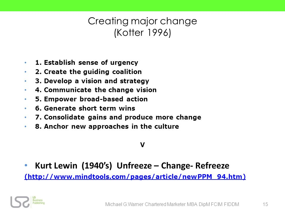 Creating major change (Kotter 1996)
