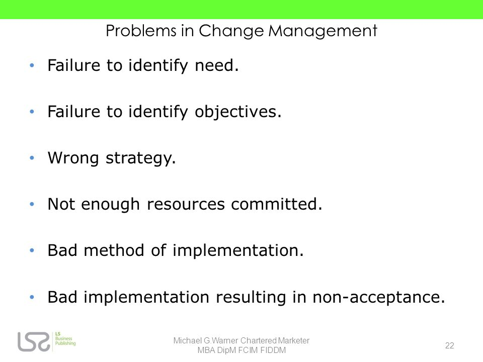 Problems in Change Management