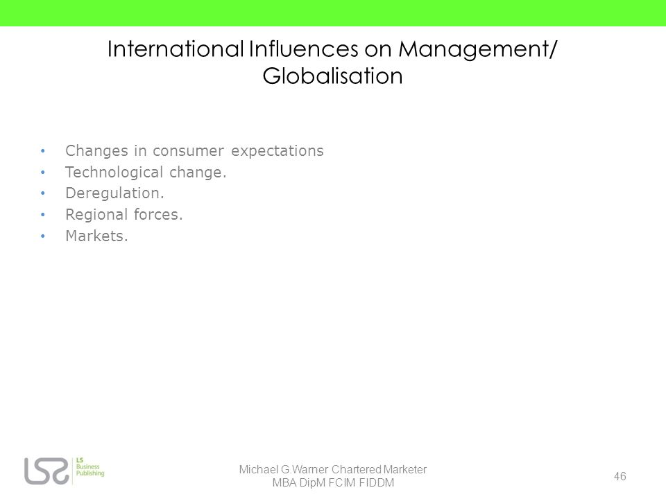 International Influences on Management/ Globalisation
