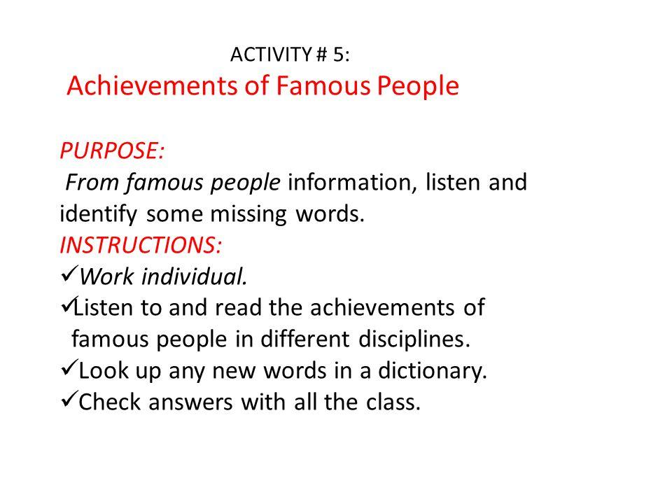 Achievements of Famous People