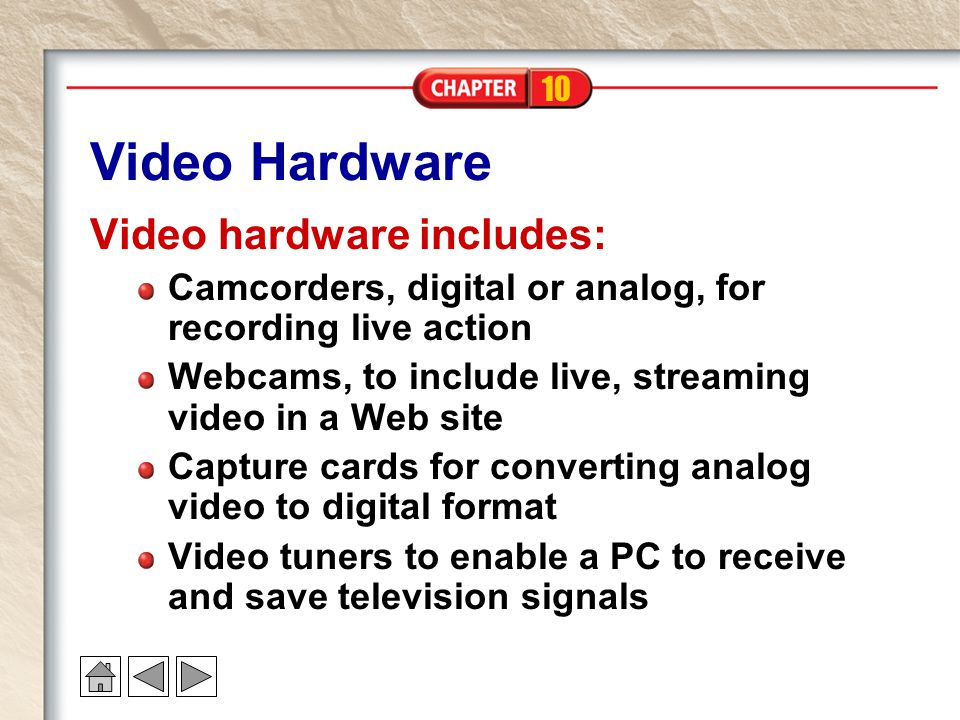 Video Hardware Video hardware includes: