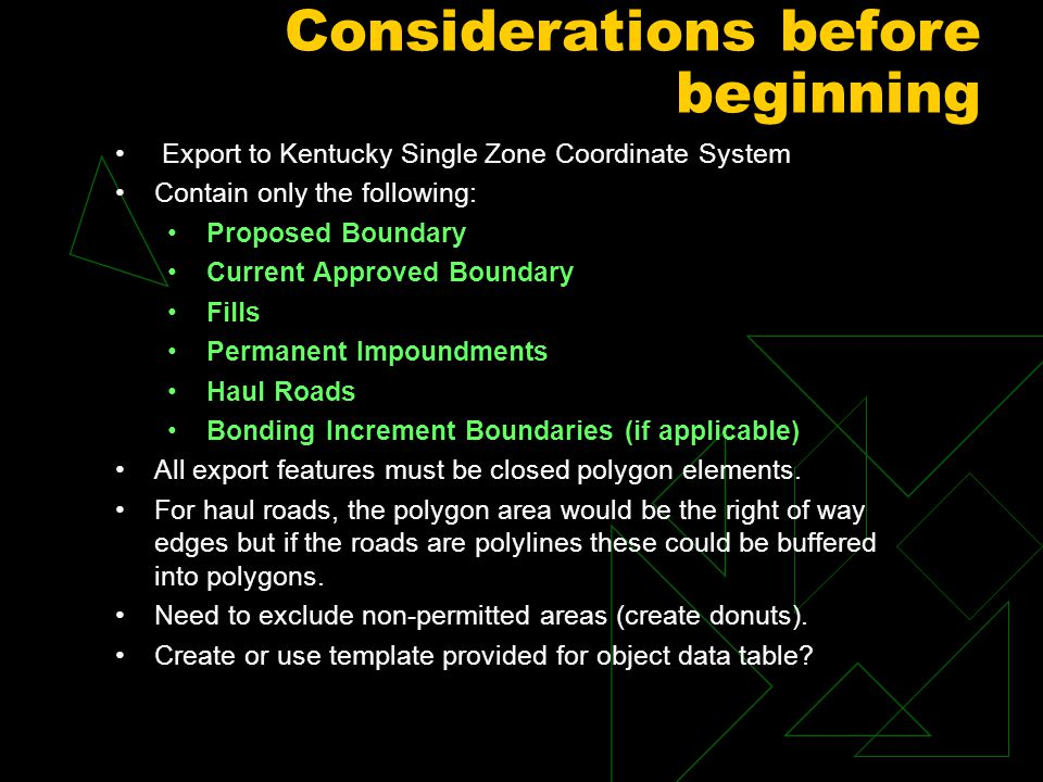 Considerations before beginning