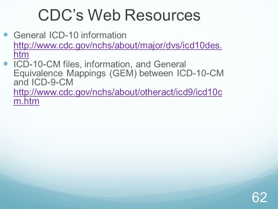 CDC's Web Resources General ICD-10 information