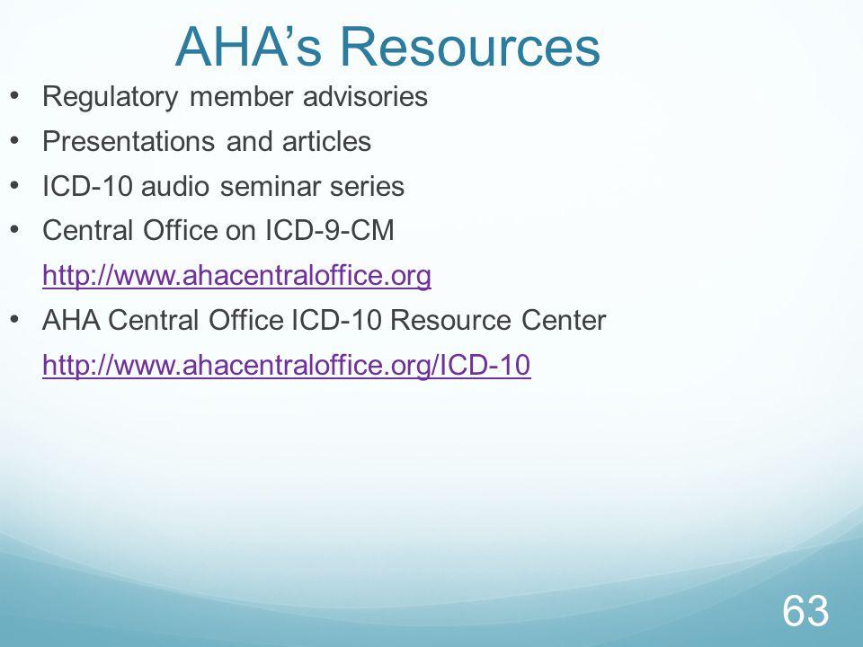 AHA's Resources Regulatory member advisories