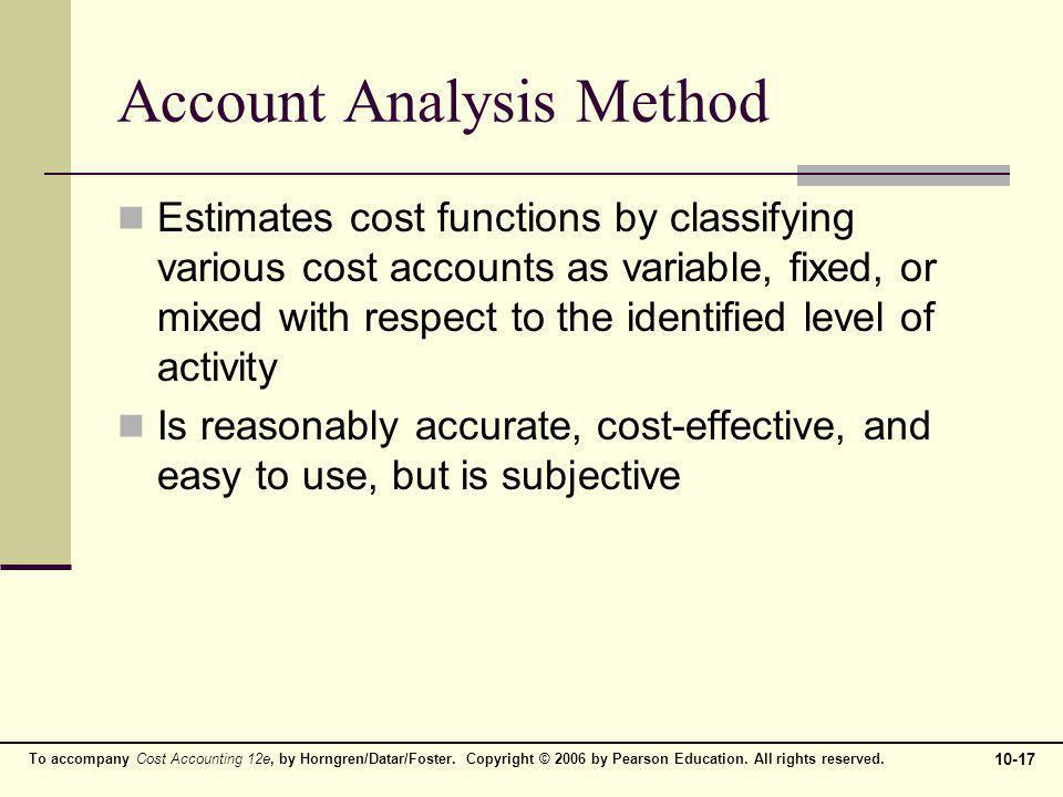Account Analysis Method