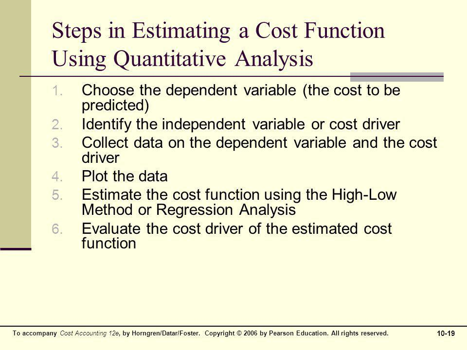 Steps in Estimating a Cost Function Using Quantitative Analysis