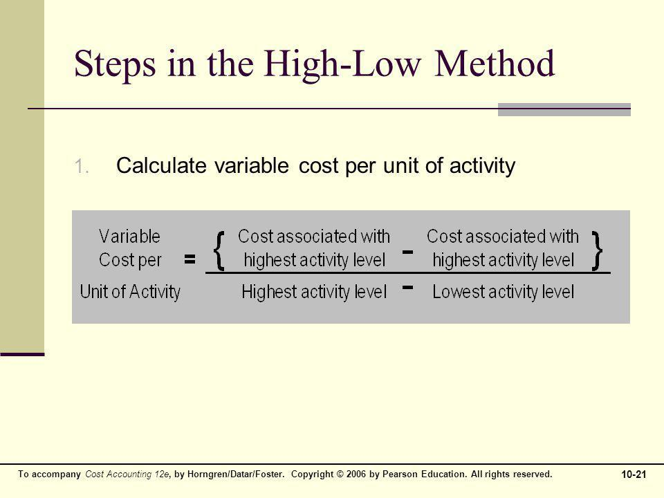 Steps in the High-Low Method
