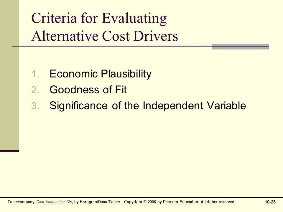 Criteria for Evaluating Alternative Cost Drivers
