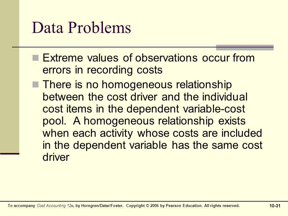 Data Problems Extreme values of observations occur from errors in recording costs.