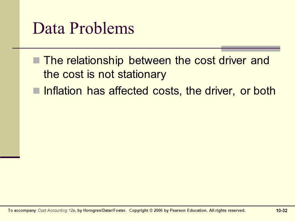 Data Problems The relationship between the cost driver and the cost is not stationary.