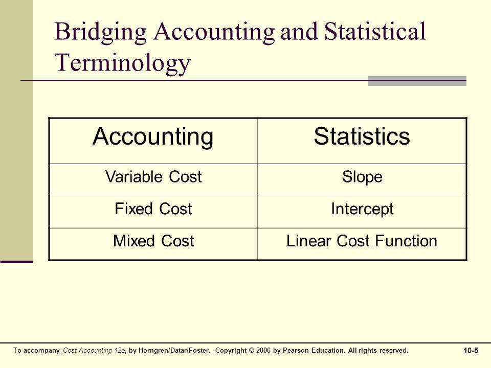 Bridging Accounting and Statistical Terminology