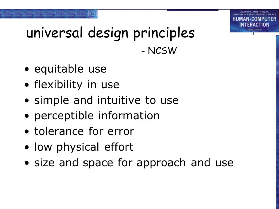 universal design principles - NCSW