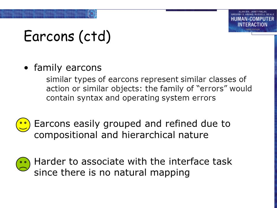 Earcons (ctd) family earcons