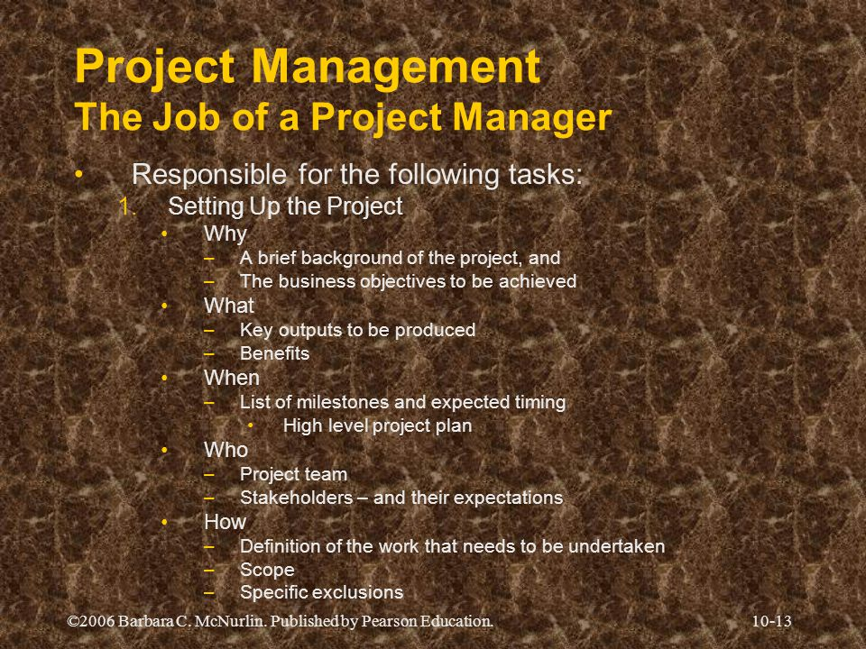 Project Management The Job of a Project Manager