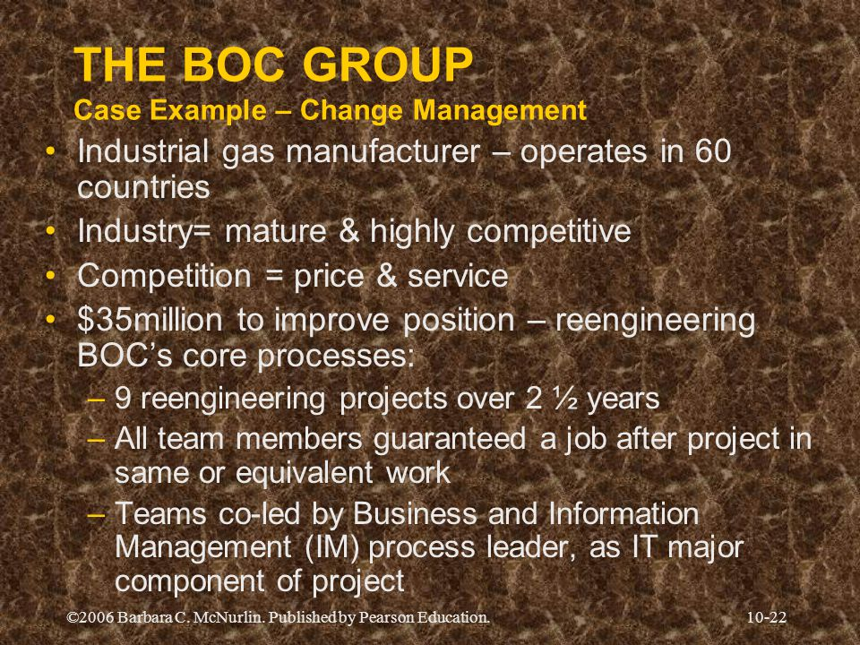 THE BOC GROUP Case Example – Change Management